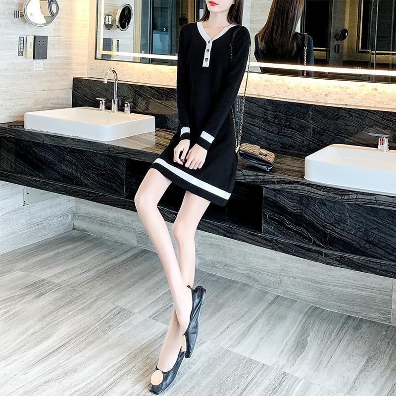 短款长袖显瘦直筒裙子