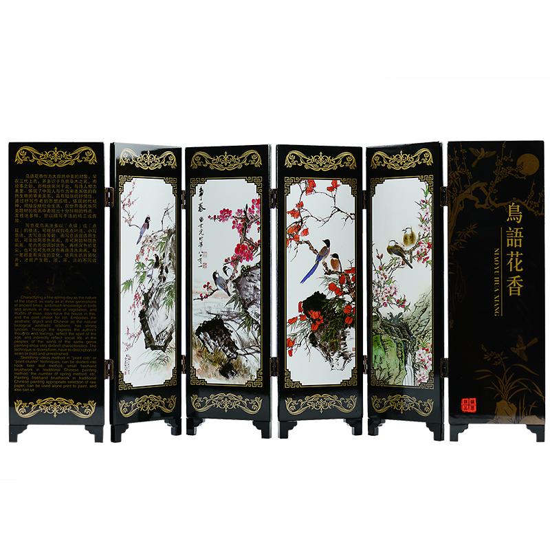 中国风漆器雕漆仿古六面小屏风摆件装饰特色工艺品送老外出国礼物