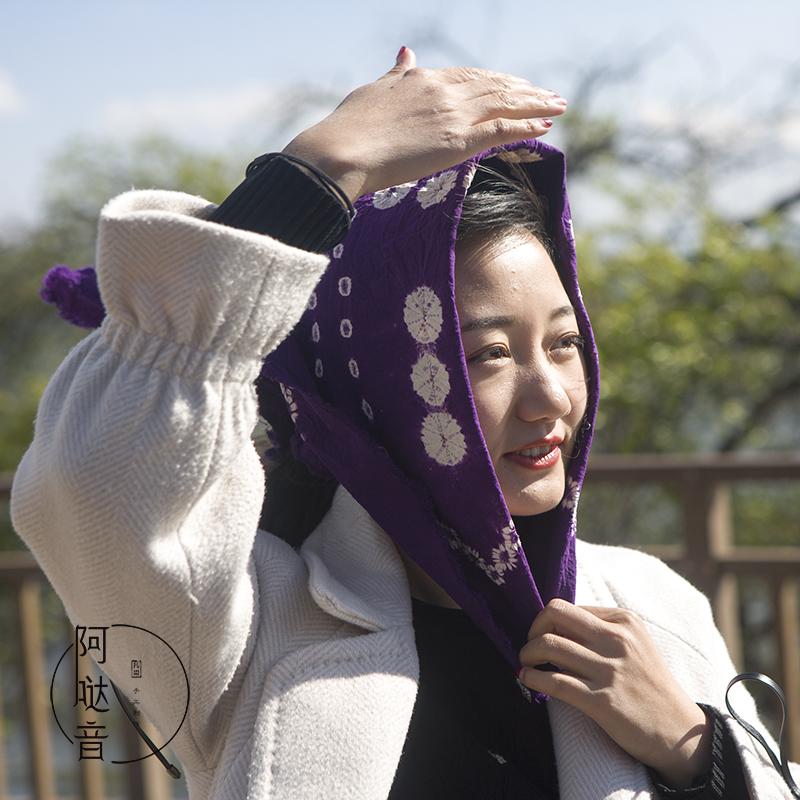 云南新款大理白族手工扎染手绢头巾骑行围巾茶具防尘盖布纯棉手帕