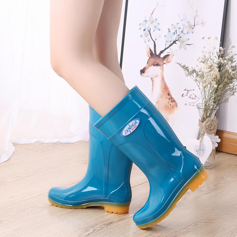 时尚雨鞋女中筒雨靴水鞋短筒女防水高筒水靴防滑厨房牛筋底工作鞋