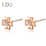 I Do Clover Series 18K gold diamond stud earrings earrings female temperament official authentic ido