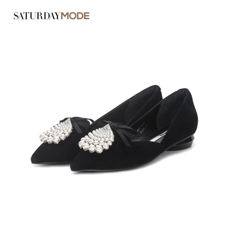 MD93111012 星期六集合店秋季新品羊皮珍珠女鞋 SATURDAYMODE