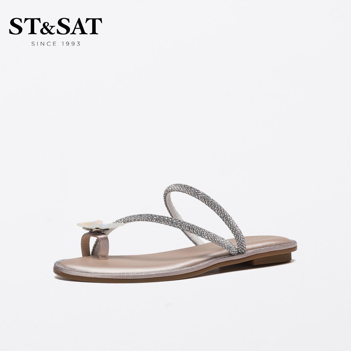 SS12110490 夏季新款蝴蝶结装饰甜美外穿凉拖女 2021 星期六低跟拖鞋