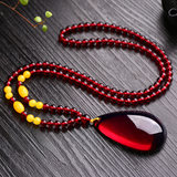 Youpinge amber pendant wine red drop blood amber pendant female models with lanyard bead chain second generation resin neck jewelry