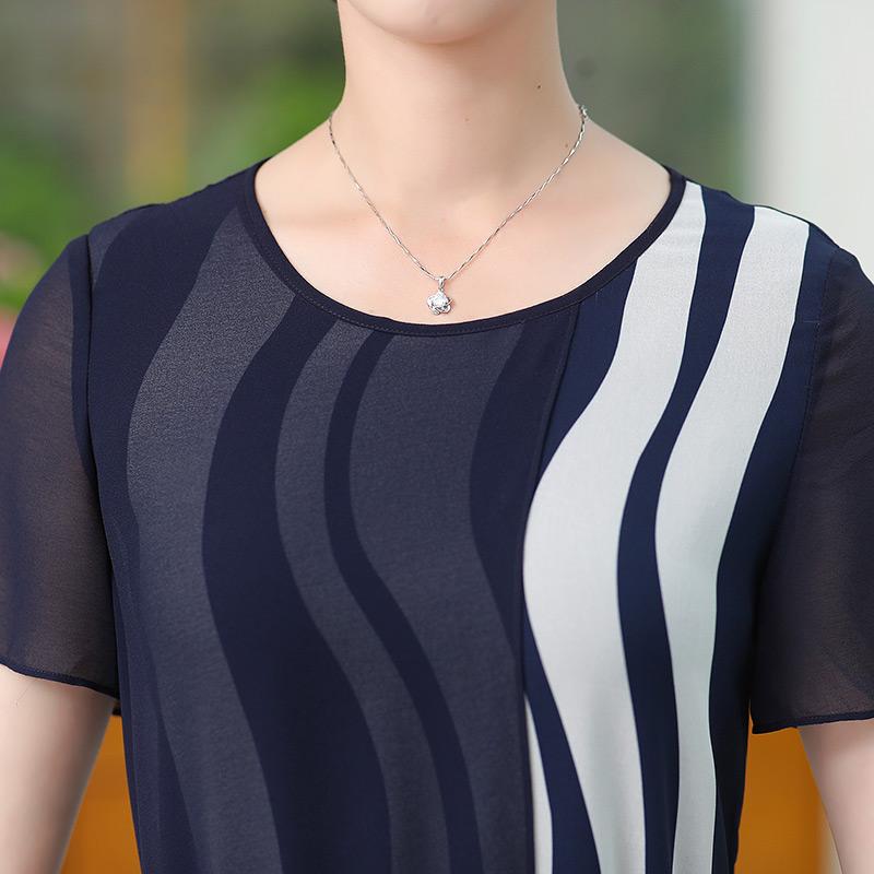 条纹连衣裙2019春夏新款女装气质中长款短袖收腰显瘦妈妈款连衣裙