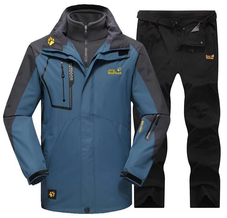 狼爪鲨鱼冲锋衣男女三合一套装衣裤两件套冬季加绒可拆卸户外定制