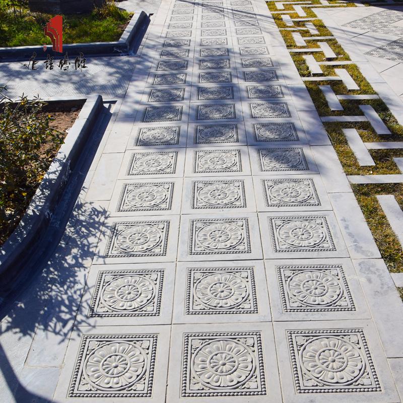 唐语砖雕仿古青砖墙地面砖广场中式家用地砖客厅防滑地砖唐莲60cm