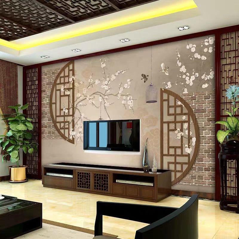 新古典中式電視背景墻壁畫大氣簡約工筆花鳥沙發影視墻布書房墻紙
