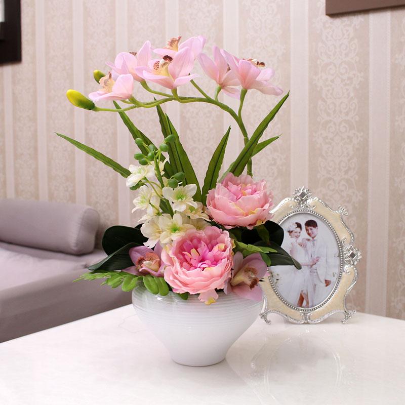 仿真花假花 PU手感玉兰花套装 家居装饰摆件客厅餐桌花艺牡丹组合