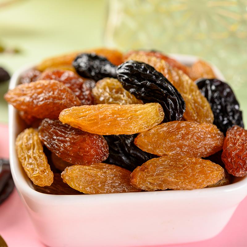 罐黑加仑红提子三色干特产散装免洗即食大颗粒商用 500g 新疆葡萄干