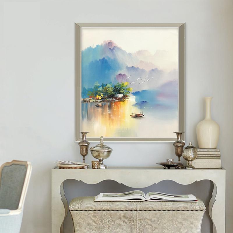 风景油画纯手绘梦幻山水挂画新中式沙发背景墙走廊客厅装饰画三联
