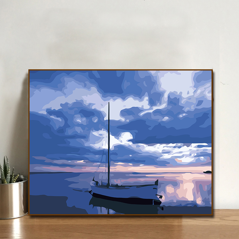 diy數字油畫客廳臥室風景大幅自己填色手繪裝飾畫40*50 陽光海岸