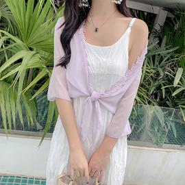 披肩夏季薄款透明小外套短款蕾丝花边小坎肩雪纺衫外搭配吊带裙子