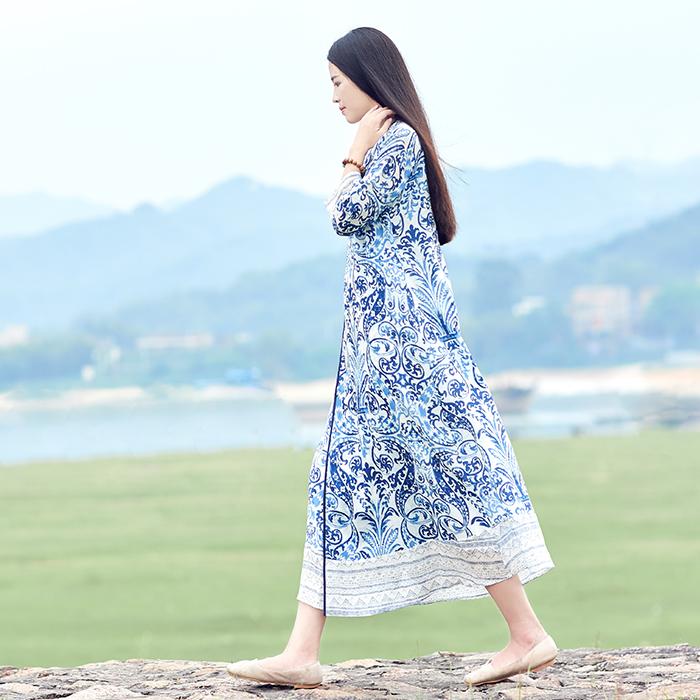 初蝉原创春夏女装中国风中式纯苎麻棉麻复古简约宽松印花连衣裙