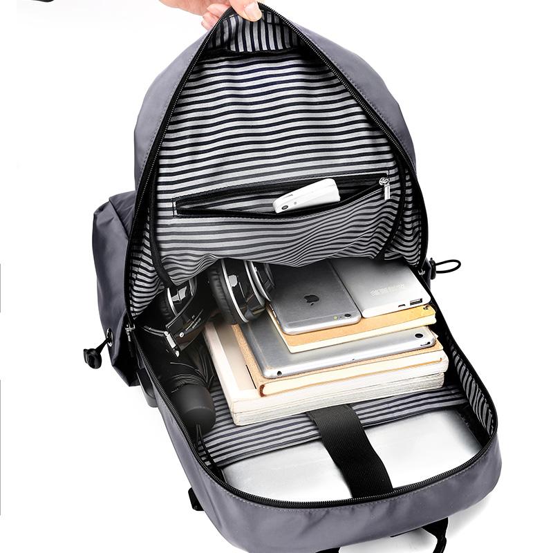 新款男士双肩包时尚潮流书包男休闲帆布大容量旅行电脑背包 2019