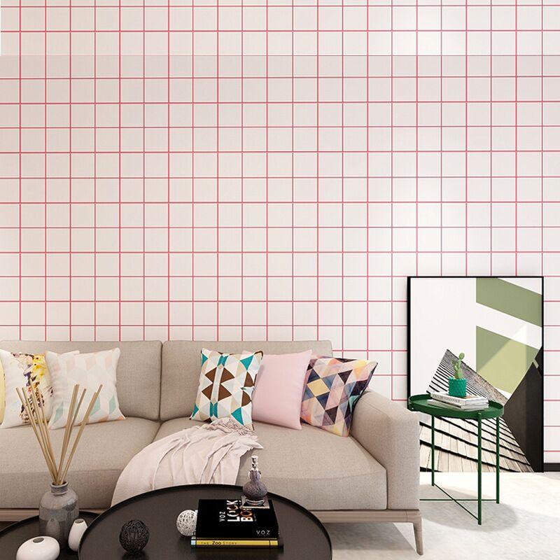 學生臥室客廳加厚防水帶膠北歐簡約壁紙 自粘墻紙 PVC 米寢室格子 10