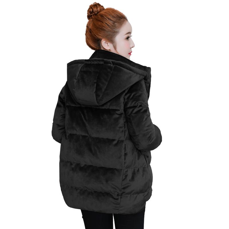 金丝绒羽绒服女短款2018新款韩版修身保暖加厚大码加厚羽绒袄外套