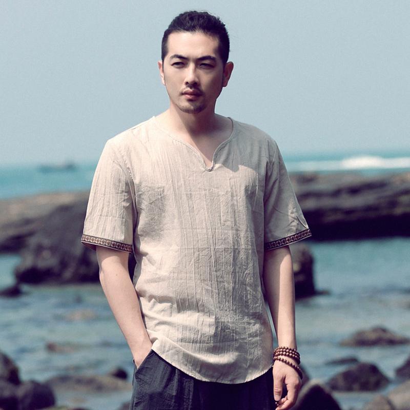 中国风男装仿棉麻T恤夏季宽松短袖大码T恤薄款中式复古仿亚麻体恤