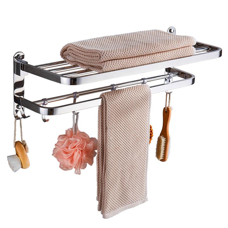 毛巾架免打孔卫生间不锈钢收纳浴巾架浴室挂钩杆厕所置物架壁挂架