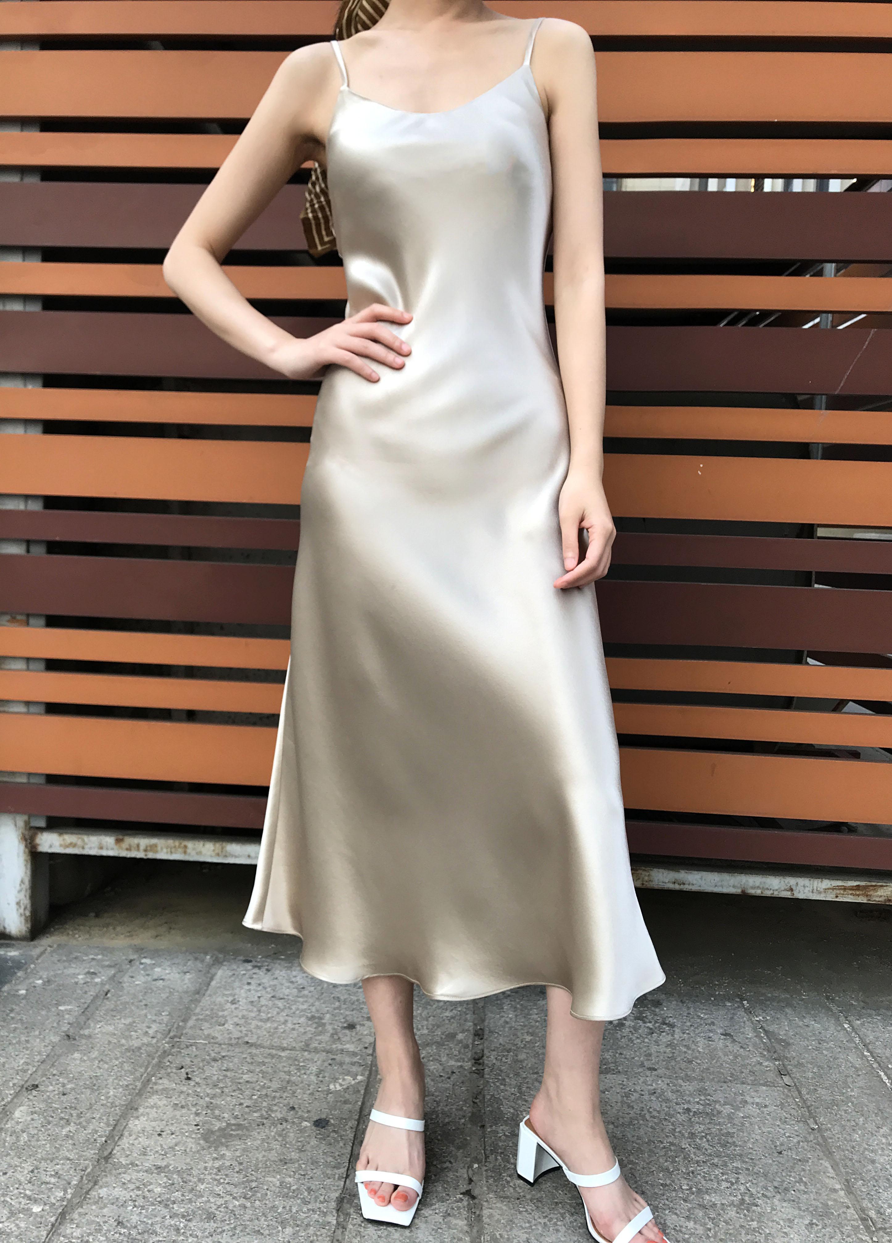 MASA经典重磅日本进口三醋酸新品纸片人缎面长款修身吊带连衣裙女