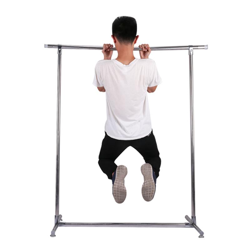 晾衣架简易室内不锈钢挂衣架 家用落地伸缩单杆式移动阳台晒衣架