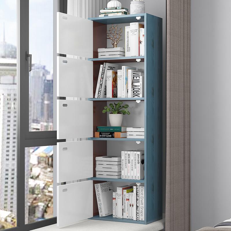 书柜书架带门储物柜简易落地收纳柜榻榻米阳台飘窗柜自由组合柜子