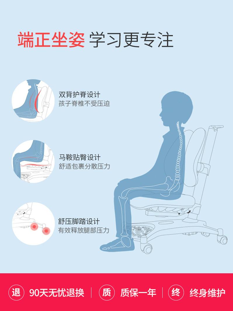 爱果乐儿童学习椅学生椅子升降椅写字椅家用电脑可升降健康矫姿椅
