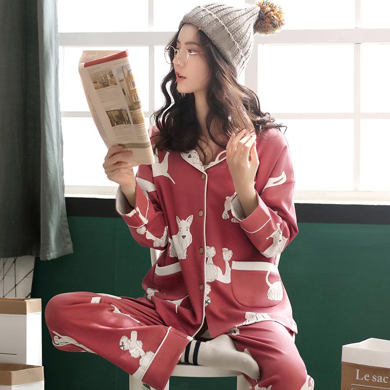 睡衣女长袖春秋夏季纯棉韩版女士大码薄款秋冬全棉家居服两件套装