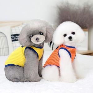 趣派狗狗衣服秋装棉条纹背心小型犬泰迪贵宾比熊小狗衣服猫咪衣服