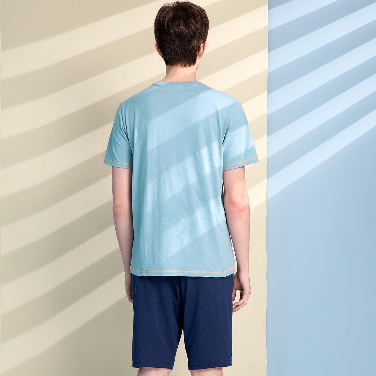 红豆睡衣纯棉2021年新款夏季薄款情侣短袖T恤外穿男女休闲居家服 No.3