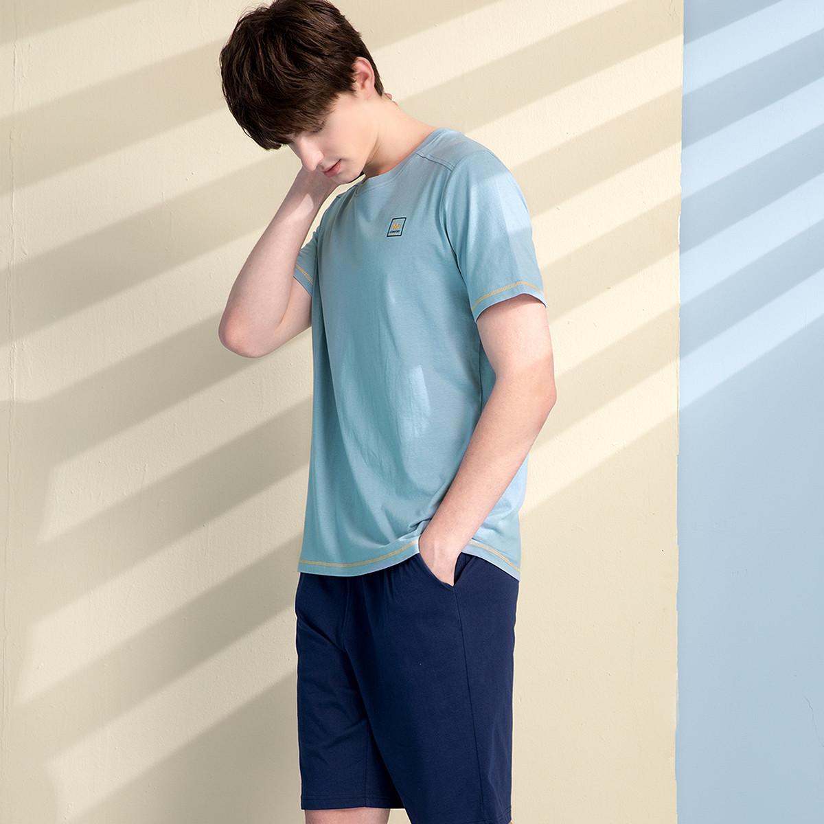 红豆睡衣纯棉2021年新款夏季薄款情侣短袖T恤外穿男女休闲居家服 No.2