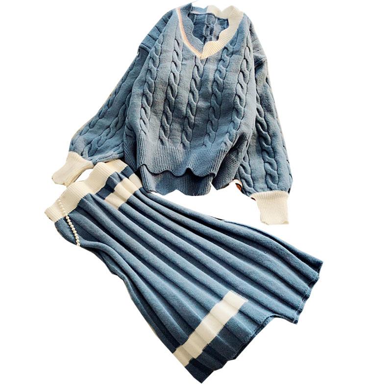 2021年新款秋装毛衣女宽松外穿秋冬两件套时尚学院风毛线裙套装主图