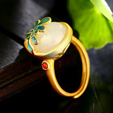 S925 silver gold-plated Hetian jade water drop plain silver with enamel ring J0555J