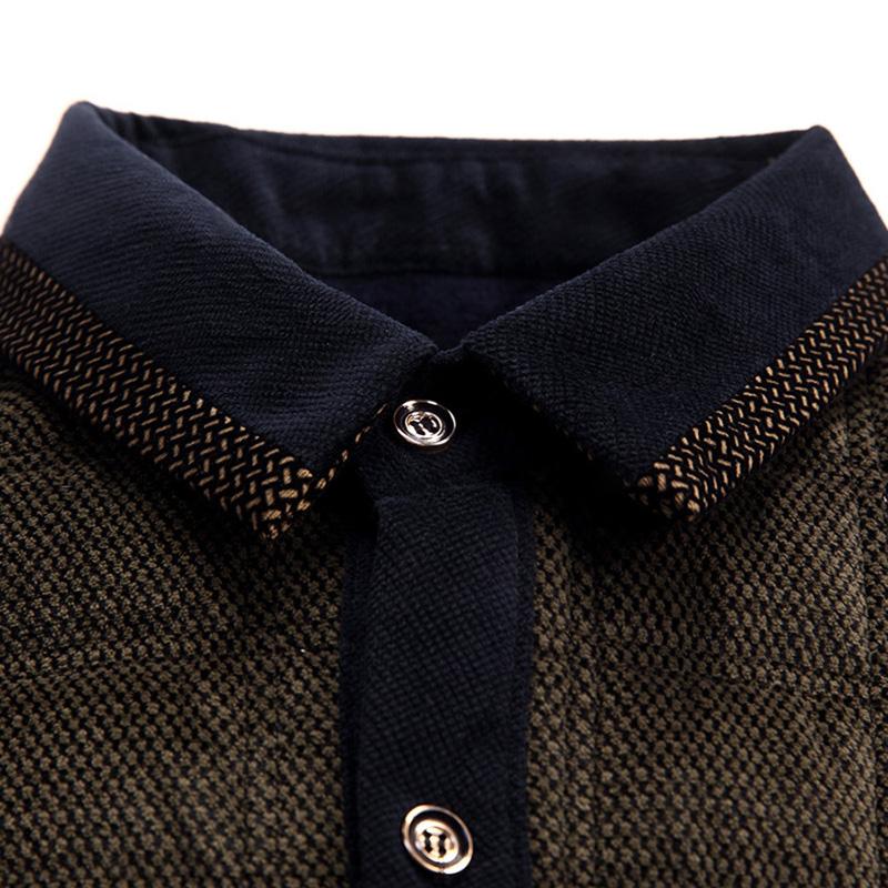 中年爸爸装夹棉保暖衬衣加厚加绒秋冬装中老年人纯棉长袖衬衫男士