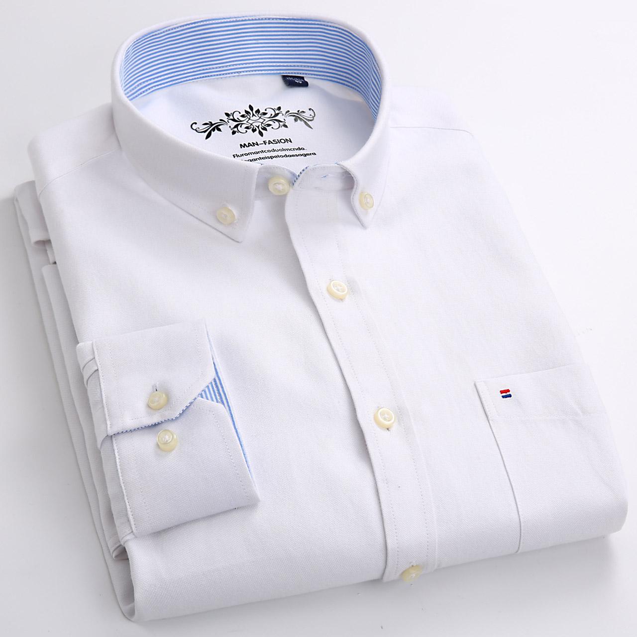 男士衬衫2018春季新款刺绣牛津纺长袖衬衣男潮流纯色上衣白衬衫