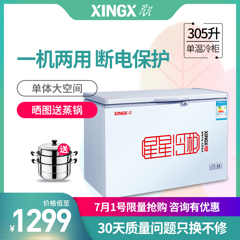 XINGX/星星 BD/BC-305E冷櫃臥式單溫大冰櫃冷藏冷凍家用商用冷櫃