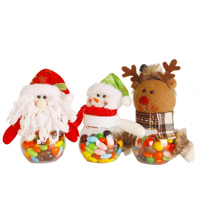 卡通装饰摆件老人糖果罐创意透明儿童塑料罐子礼物盒圣诞节小礼品