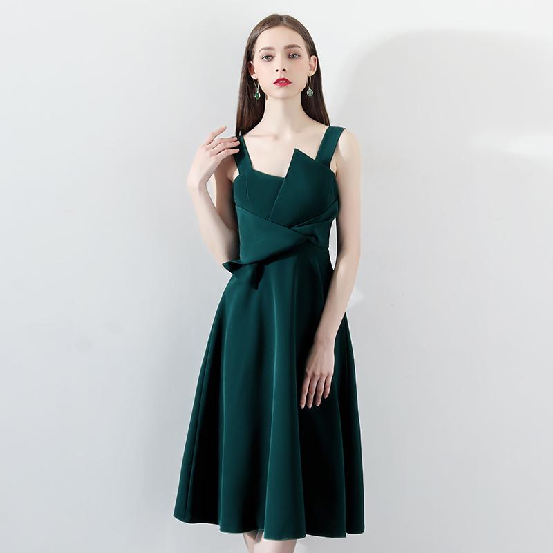 宴会小晚礼服裙女2018新款名媛生日派对连衣裙洋装绿色吊带中长款
