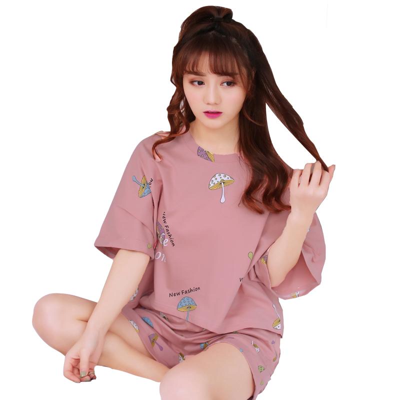 睡衣女夏短袖纯棉两件套装夏季韩版宽松清新学生少夏天薄款家居服
