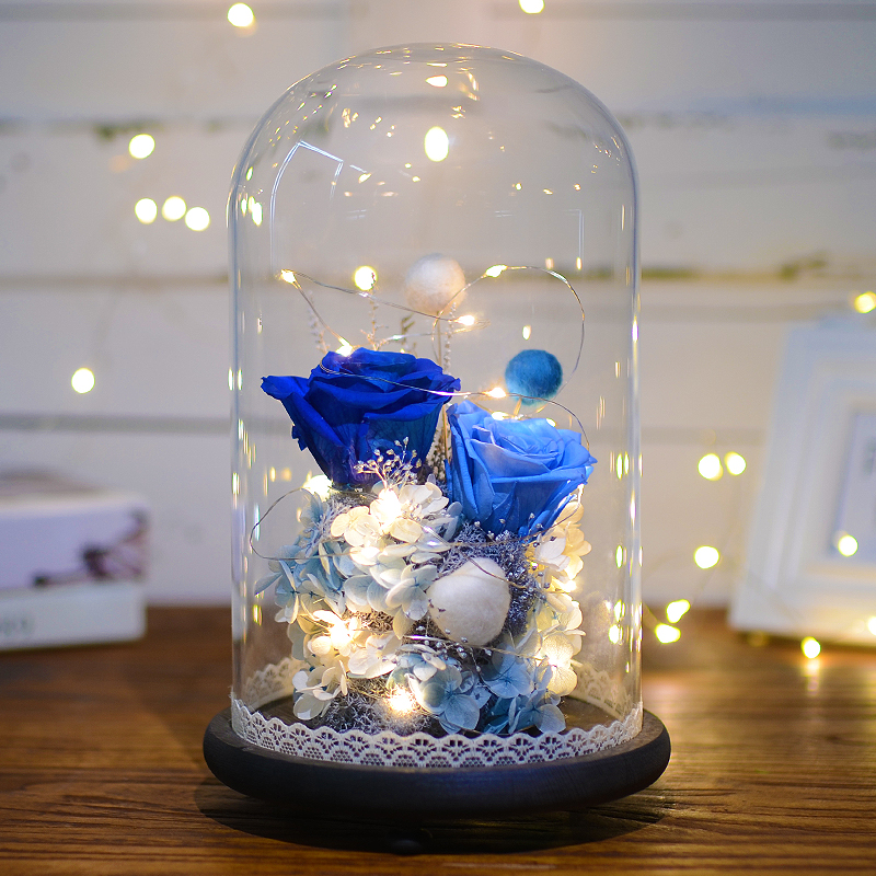 永生花礼盒玻璃罩七夕情人节保鲜花玫瑰花干花花束生日礼物送女友