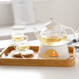 European flower teapot boiled Pu'er teapot set simple ceramic glass afternoon tea flower tea set candle can be heated