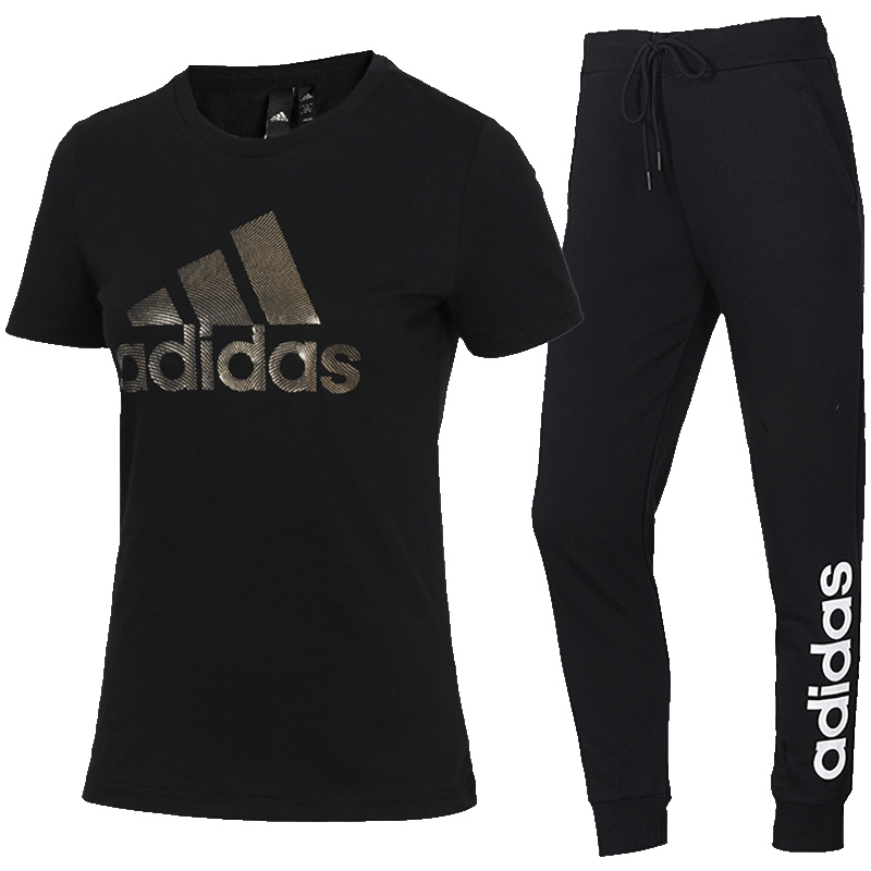 Adidas阿迪达斯运动套装女2020夏季新款运动服休闲装短袖跑步女装