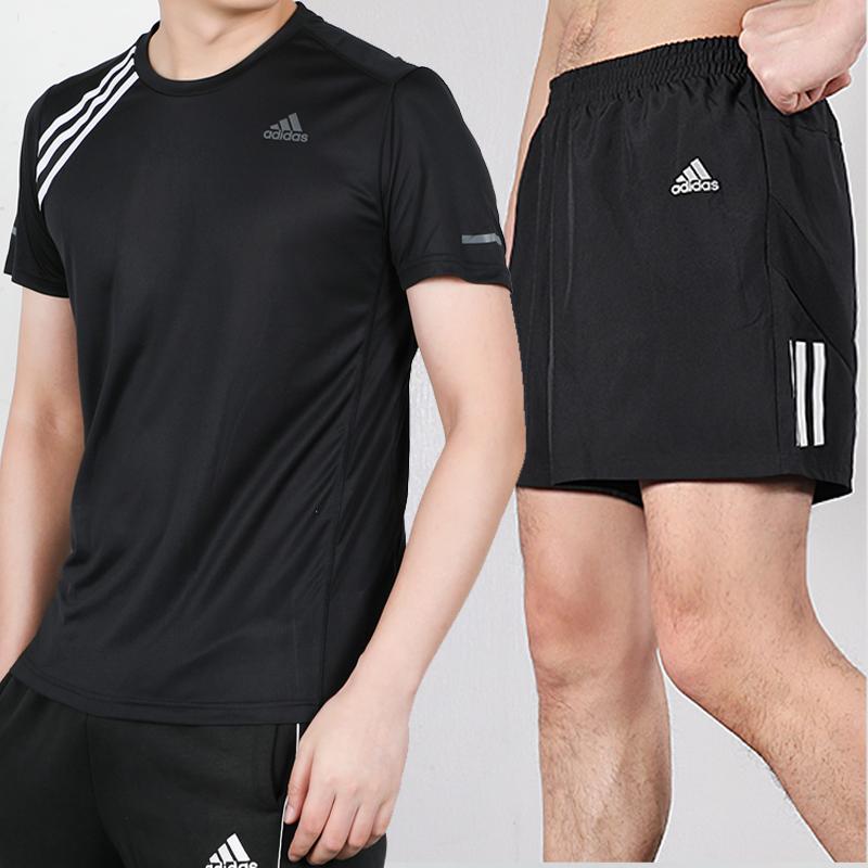 Adidas阿迪达斯套装男2020夏季新款跑步训练运动服短袖短裤休闲装