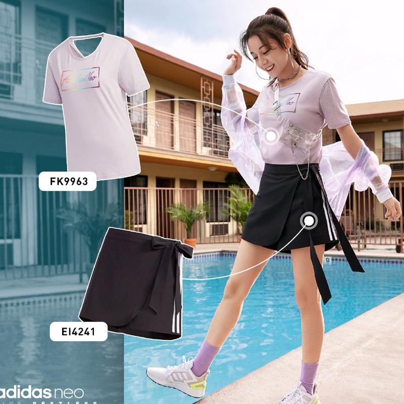 Adidas阿迪达斯套装女2020夏季新款运动服针织时尚休闲装短袖短裤