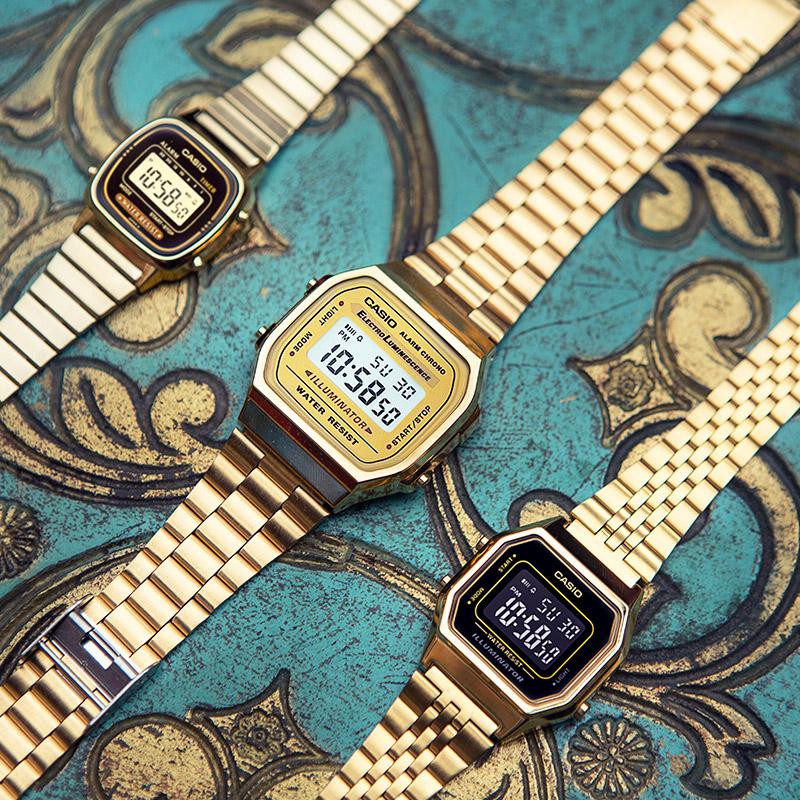 A168WG 9WDF 卡西欧金表时尚潮流男士小金表手表简约男表石英表