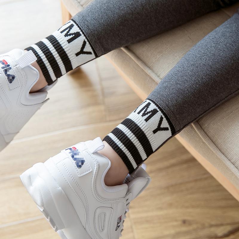 打底裤女薄款外穿2021新款纯棉灰色运动显瘦春秋网红字母秋冬加绒主图