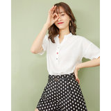 IEF / AES 2020 spring and summer clothes Korean fashion Western style loose V-neck simple short-sleeved shirt female students