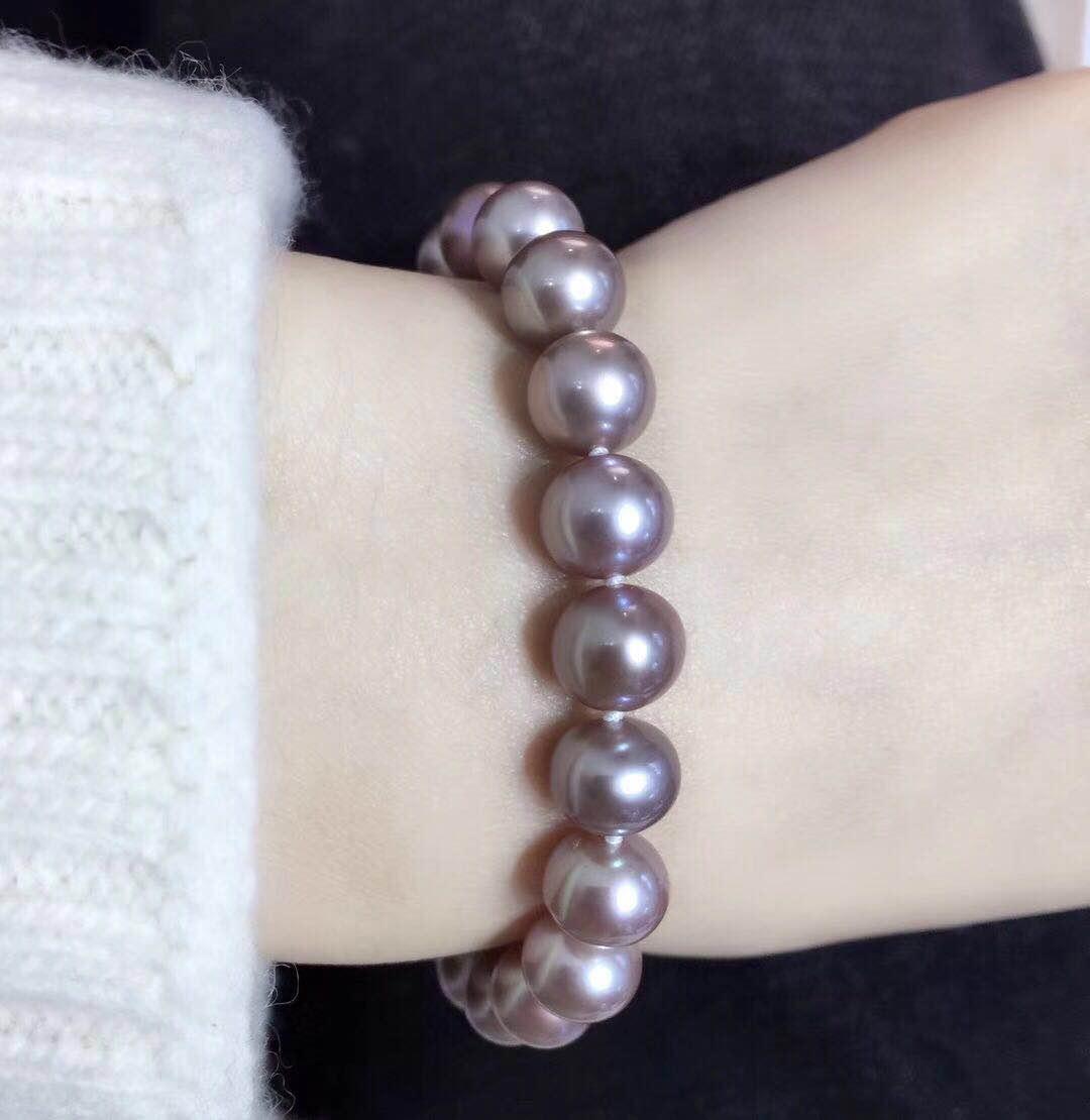 淡水珍珠全珠手链 18K