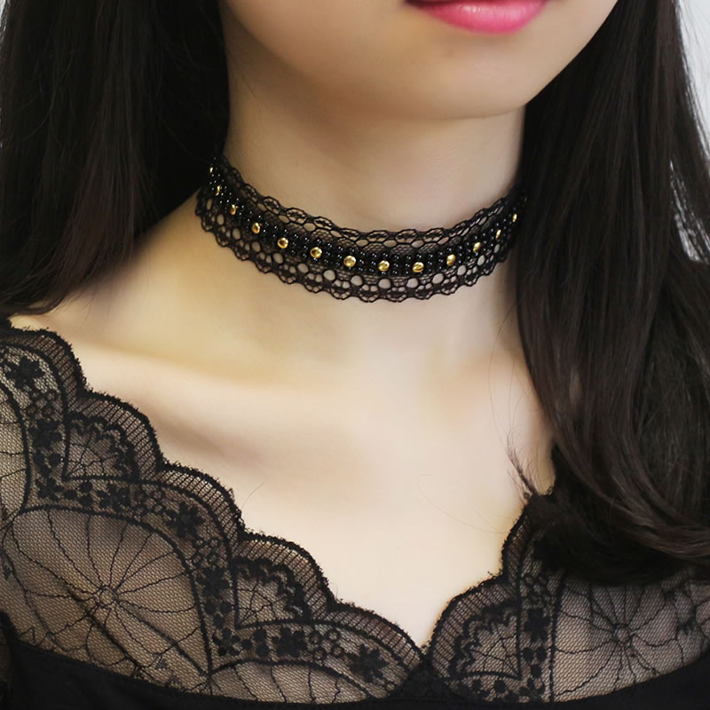 韩版原宿项圈女锁骨项链复古蕾丝颈带短款秋冬季颈链脖链时尚饰品