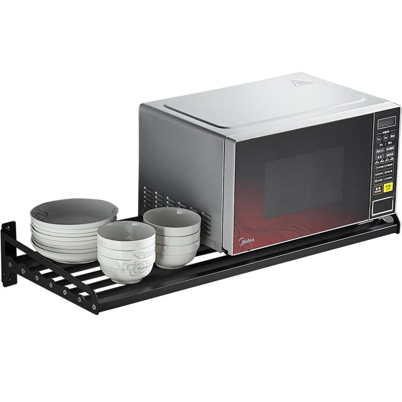 北欧黑色304不锈钢微波炉支架厨房置物架调味收纳架子壁挂烤箱架